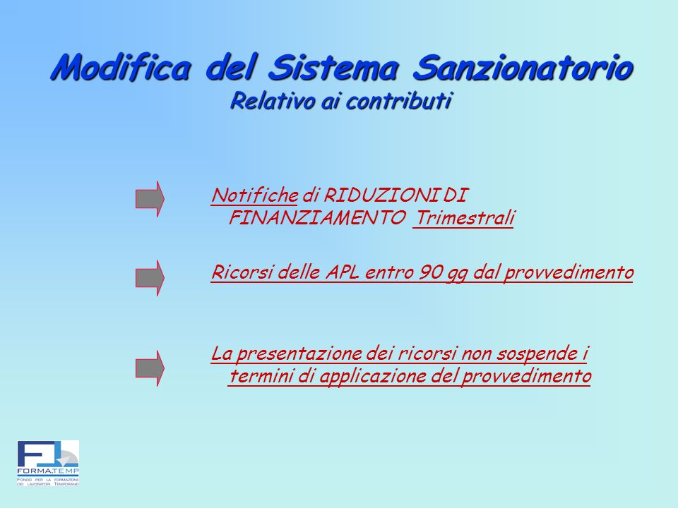 Modifica del Sistema Sanzionatorio Relativo ai contributi Notifiche di RIDUZIONI DI FINANZIAMENTO Trimestrali Ricorsi delle APL entro 90 gg dal provve