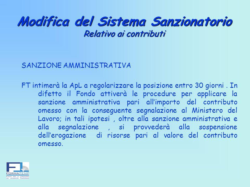 Modifica del Sistema Sanzionatorio Relativo ai contributi SANZIONE AMMINISTRATIVA FT intimerà la ApL a regolarizzare la posizione entro 30 giorni. In