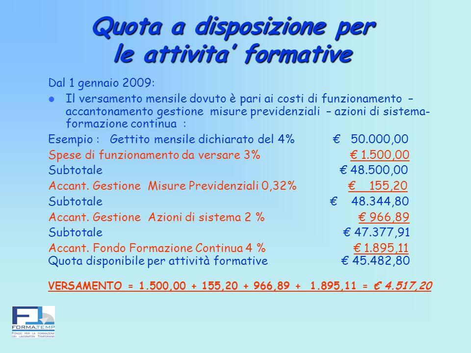 Quota a disposizione per le attivita formative Dal 1 gennaio 2009: Il versamento mensile dovuto è pari ai costi di funzionamento – accantonamento gest