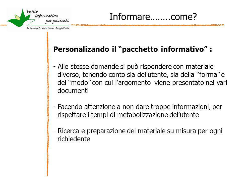 Informare……..come? Personalizando il pacchetto informativo : - Alle stesse domande si può rispondere con materiale diverso, tenendo conto sia delutent