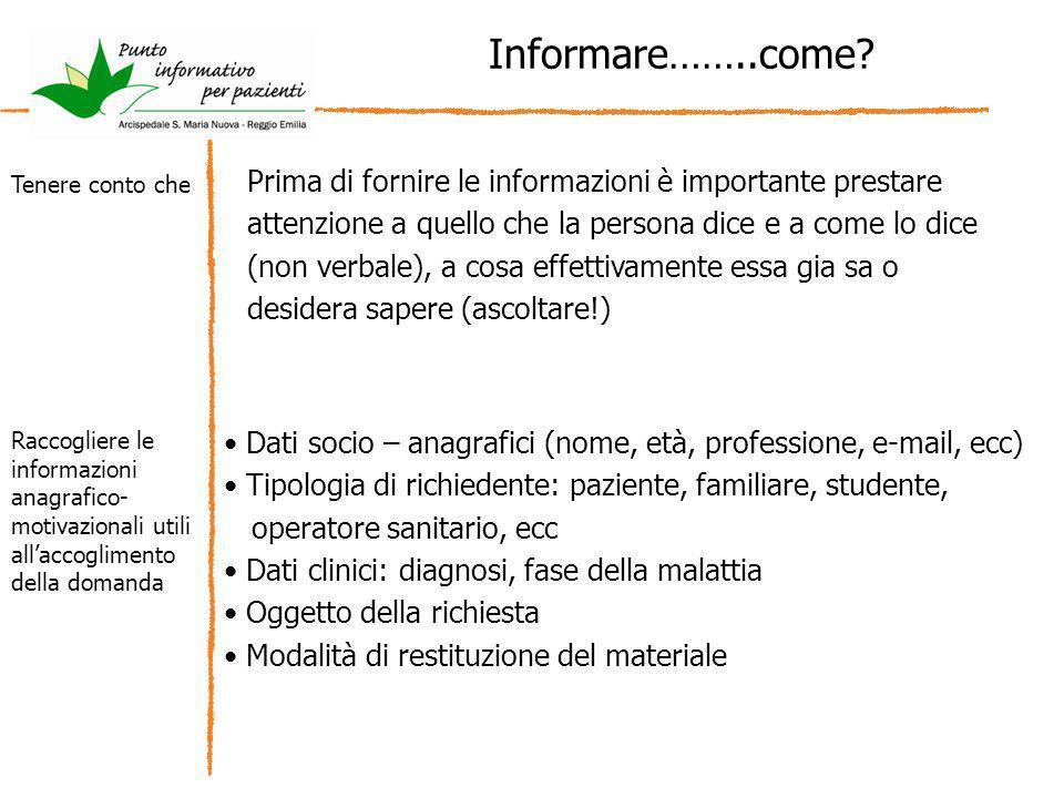 Informare……..come? Prima di fornire le informazioni è importante prestare attenzione a quello che la persona dice e a come lo dice (non verbale), a co