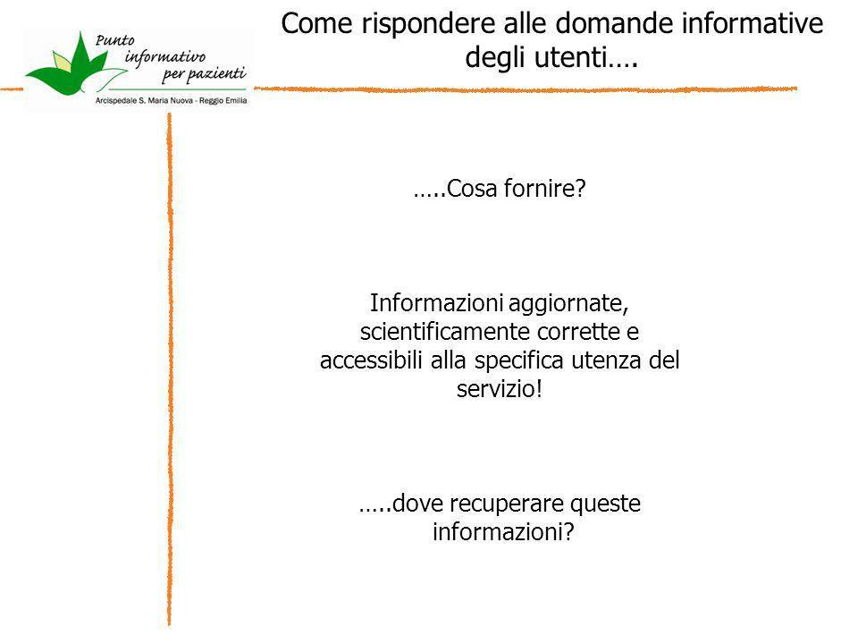 Come rispondere alle domande informative degli utenti…. …..Cosa fornire? Informazioni aggiornate, scientificamente corrette e accessibili alla specifi