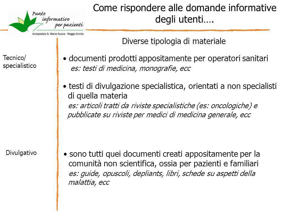 Come rispondere alle domande informative degli utenti…. Diverse tipologia di materiale documenti prodotti appositamente per operatori sanitari es: tes