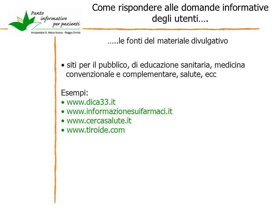 Come rispondere alle domande informative degli utenti…. …..le fonti del materiale divulgativo siti per il pubblico, di educazione sanitaria, medicina