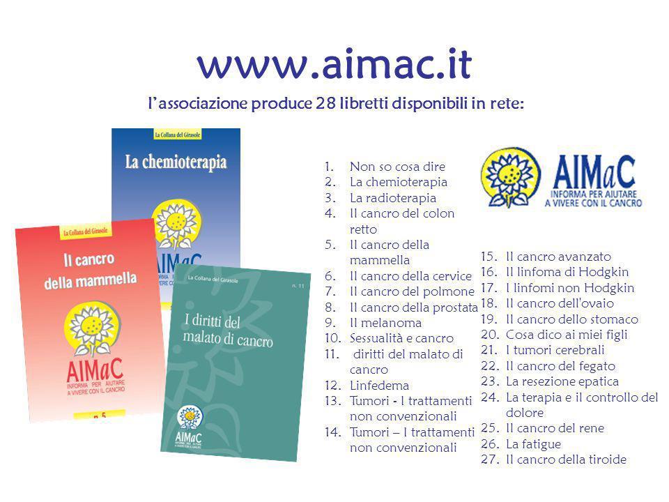 www.aimac.it lassociazione produce 28 libretti disponibili in rete: 15.Il cancro avanzato 16.Il linfoma di Hodgkin 17.I linfomi non Hodgkin 18.Il canc