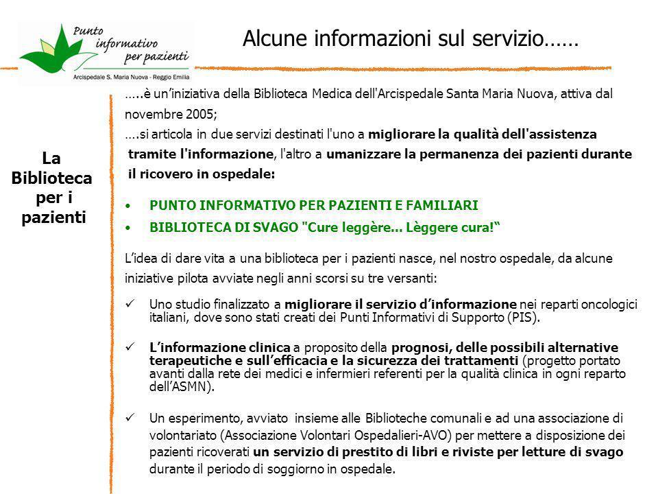 …..è uniniziativa della Biblioteca Medica dell'Arcispedale Santa Maria Nuova, attiva dal novembre 2005; ….si articola in due servizi destinati l'uno a