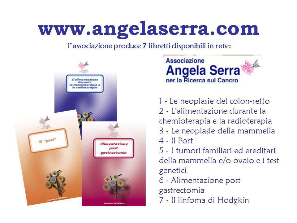 www.angelaserra.com 1 - Le neoplasie del colon-retto 2 - L'alimentazione durante la chemioterapia e la radioterapia 3 - Le neoplasie della mammella 4