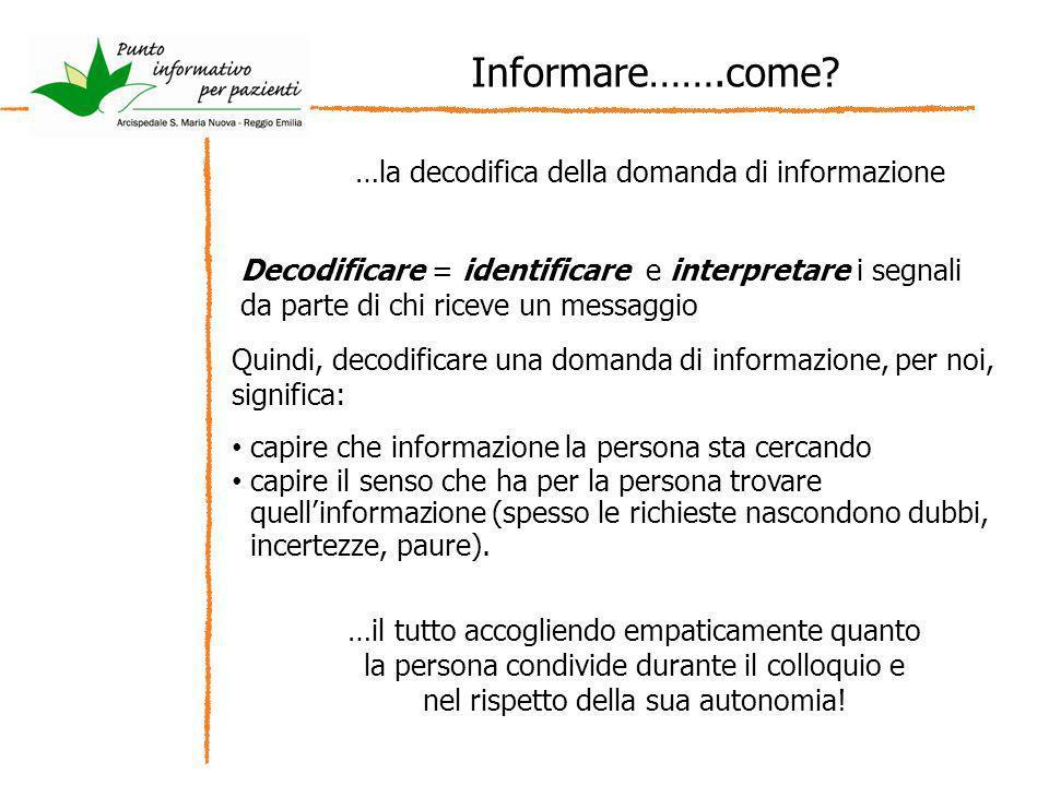 Informare…….come? …la decodifica della domanda di informazione Decodificare = identificare e interpretare i segnali da parte di chi riceve un messaggi