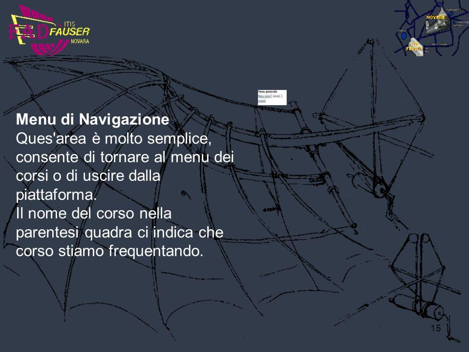 15 Menu di Navigazione Ques'area è molto semplice, consente di tornare al menu dei corsi o di uscire dalla piattaforma. Il nome del corso nella parent