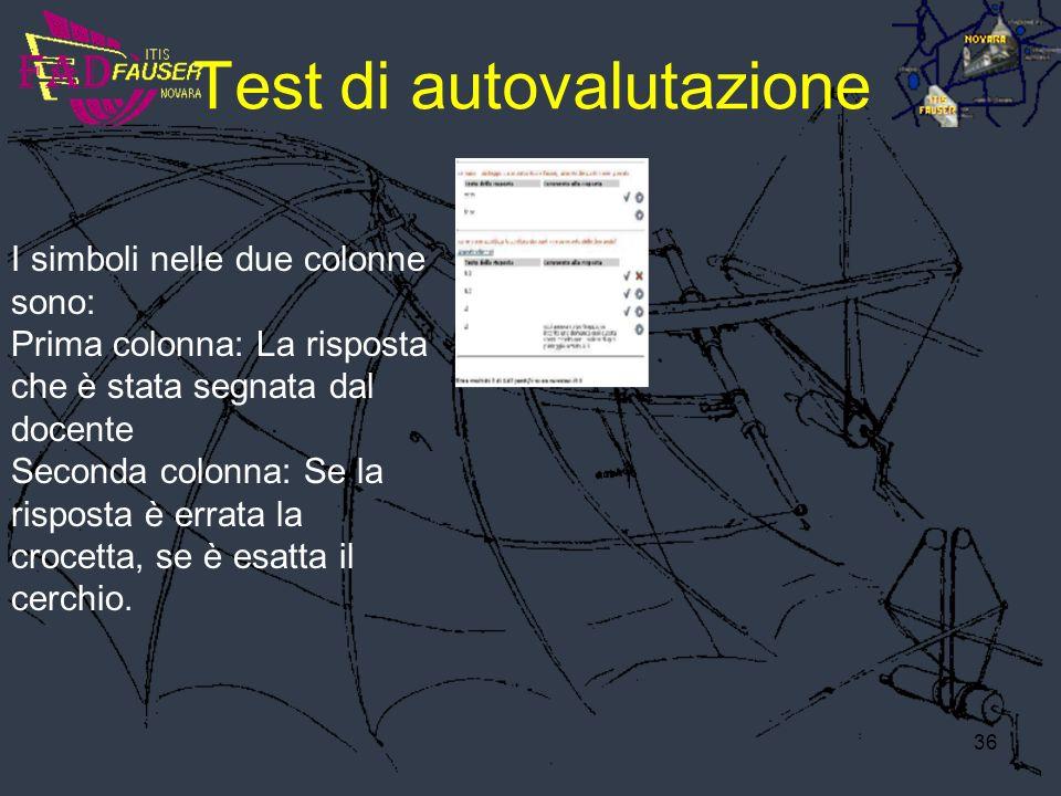 36 Test di autovalutazione I simboli nelle due colonne sono: Prima colonna: La risposta che è stata segnata dal docente Seconda colonna: Se la rispost
