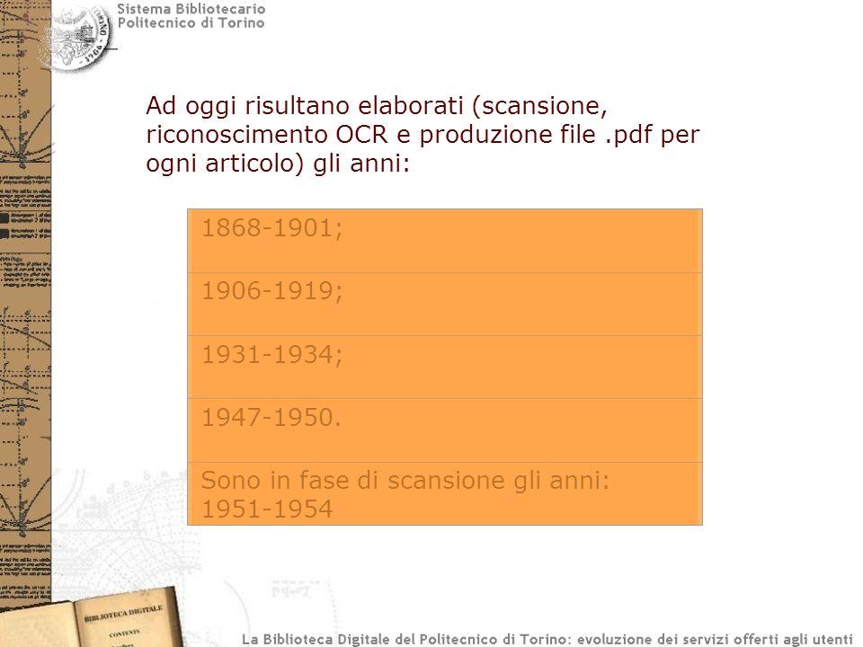 Ad oggi risultano elaborati (scansione, riconoscimento OCR e produzione file.pdf per ogni articolo) gli anni: 1868-1901; 1906-1919; 1931-1934; 1947-1950.