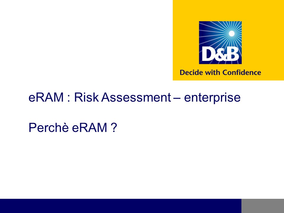Risk Assessment Manager Enterprise Validate credit worthiness at point of sale with wireless device Management Reports and Portfolio Management D&B Information (Parent/Child, Risk Scores, Payment Information, Public Filings) Sales department can pre-qualify prospect before the sales call ERP/ Internal A/R Systems Credit decision is automated while Customer Service enters order Data Your Rules and Policies Un software per tutta la vostra organizzazione