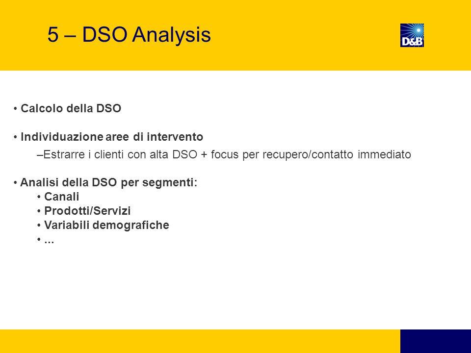 Calcolo della DSO Individuazione aree di intervento –Estrarre i clienti con alta DSO + focus per recupero/contatto immediato Analisi della DSO per segmenti: Canali Prodotti/Servizi Variabili demografiche...