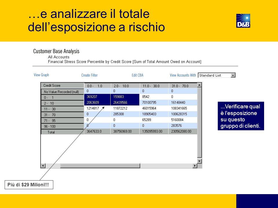 …e analizzare il totale dellesposizione a rischio Più di $29 Milioni!!!...Verificare qual è lesposizione su questo gruppo di clienti.