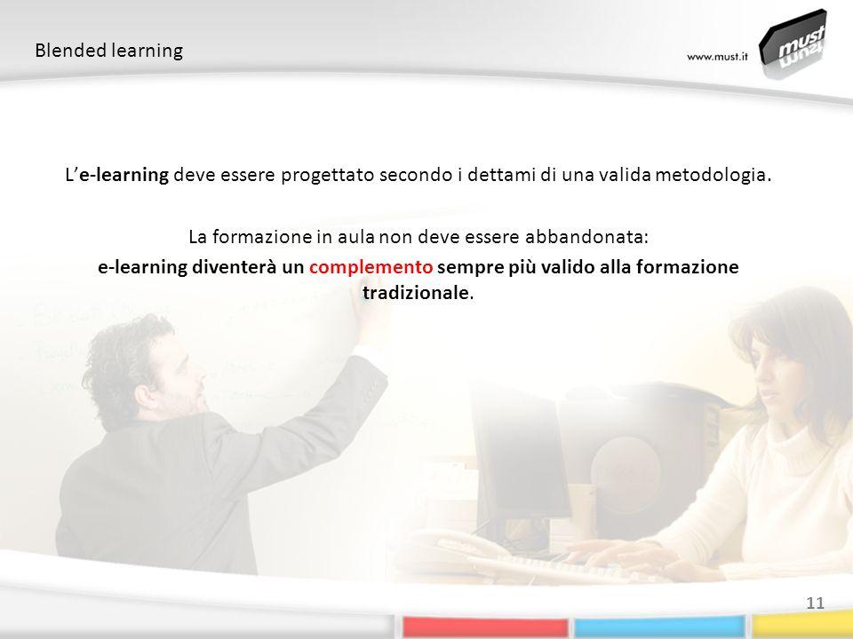 Blended learning 11 Le-learning deve essere progettato secondo i dettami di una valida metodologia. La formazione in aula non deve essere abbandonata: