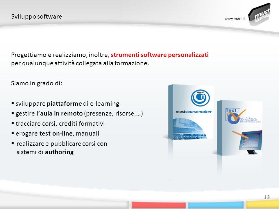 Sviluppo software 13 Progettiamo e realizziamo, inoltre, strumenti software personalizzati per qualunque attività collegata alla formazione.