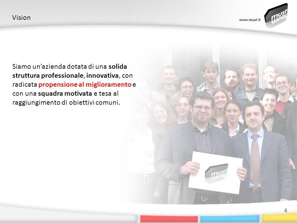 Vision 4 Siamo unazienda dotata di una solida struttura professionale, innovativa, con radicata propensione al miglioramento e con una squadra motivata e tesa al raggiungimento di obiettivi comuni.