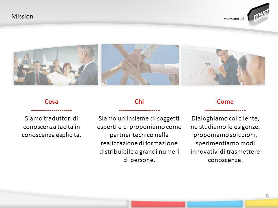 Mission 5 Cosa -------------------- Siamo traduttori di conoscenza tacita in conoscenza esplicita. Chi -------------------- Siamo un insieme di sogget