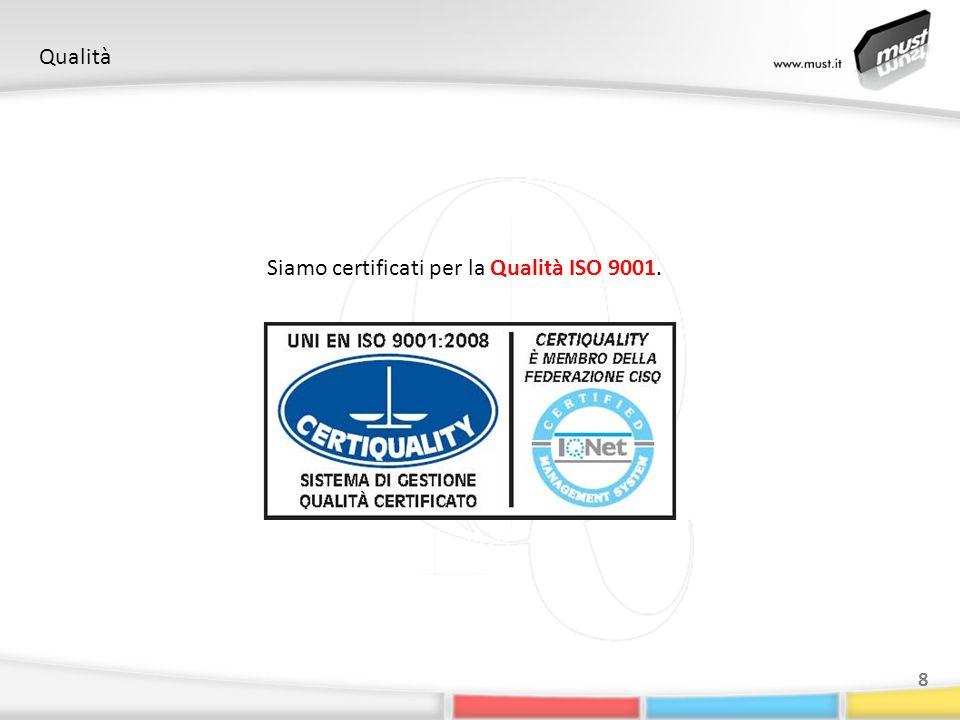 Qualità 8 Siamo certificati per la Qualità ISO 9001.