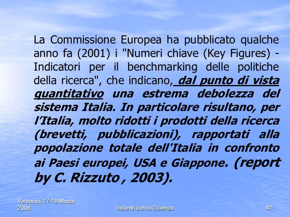 Verbania, 17-19 Marzo 2006Incontri con la Scienza41 La Commissione Europea ha pubblicato qualche anno fa (2001) i Numeri chiave (Key Figures) - Indicatori per il benchmarking delle politiche della ricerca , che indicano, dal punto di vista quantitativo una estrema debolezza del sistema Italia.