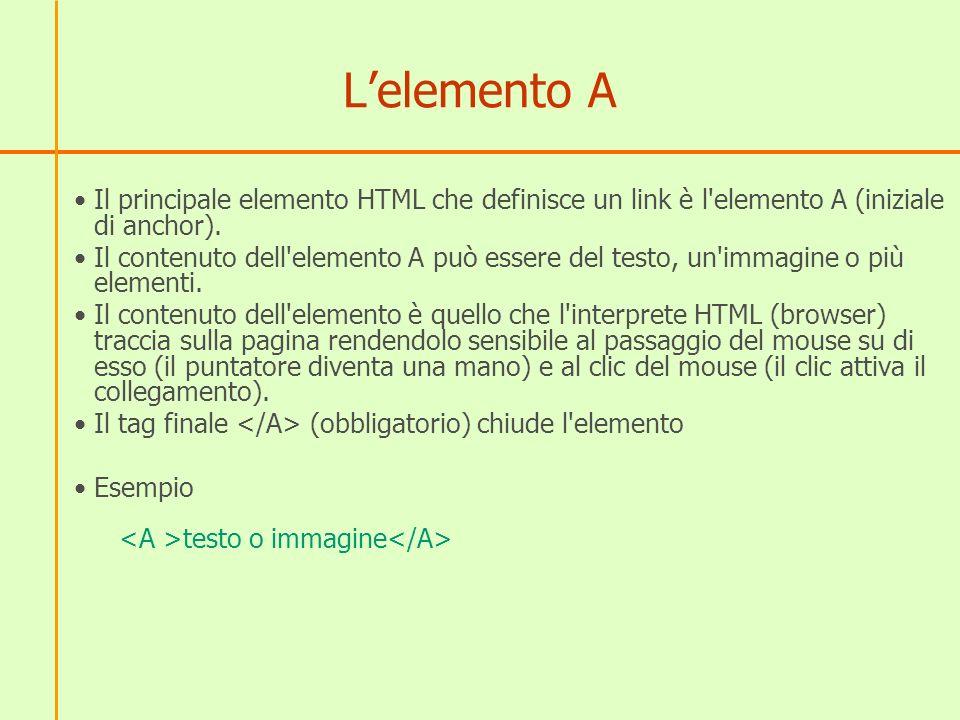 Lelemento A Il principale elemento HTML che definisce un link è l elemento A (iniziale di anchor).