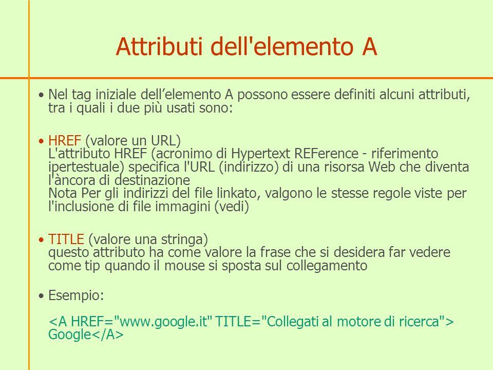 Attributi dell elemento A Nel tag iniziale dellelemento A possono essere definiti alcuni attributi, tra i quali i due più usati sono: HREF (valore un URL) L attributo HREF (acronimo di Hypertext REFerence - riferimento ipertestuale) specifica l URL (indirizzo) di una risorsa Web che diventa l àncora di destinazione Nota Per gli indirizzi del file linkato, valgono le stesse regole viste per l inclusione di file immagini (vedi) TITLE (valore una stringa) questo attributo ha come valore la frase che si desidera far vedere come tip quando il mouse si sposta sul collegamento Esempio: Google