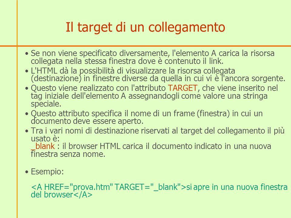 Il target di un collegamento Se non viene specificato diversamente, l elemento A carica la risorsa collegata nella stessa finestra dove è contenuto il link.