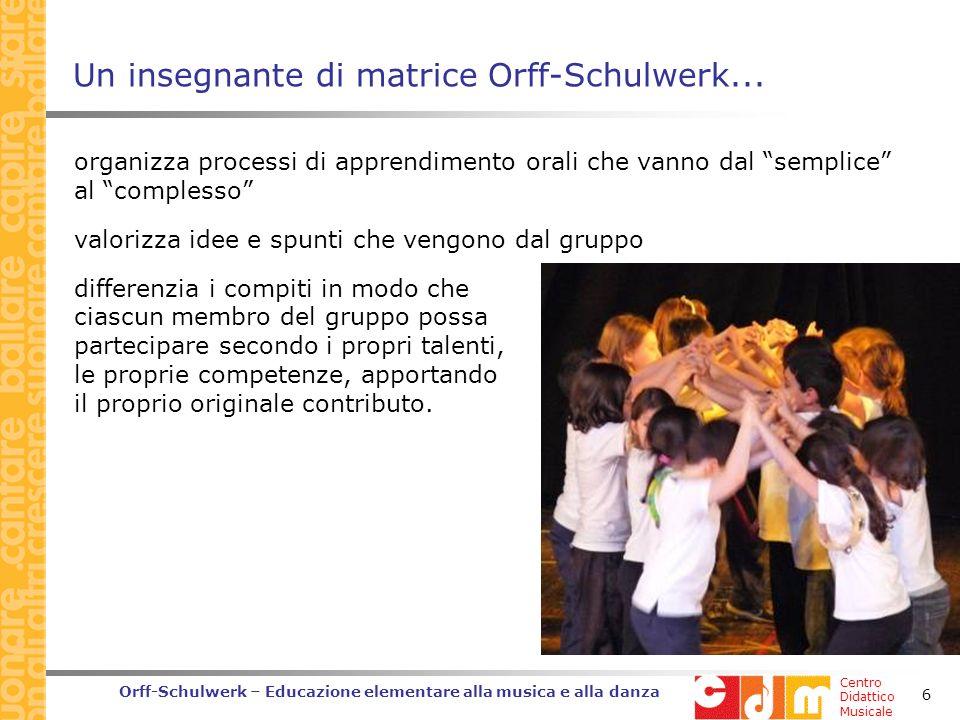Centro Didattico Musicale Orff-Schulwerk – Educazione elementare alla musica e alla danza 6 Un insegnante di matrice Orff-Schulwerk...