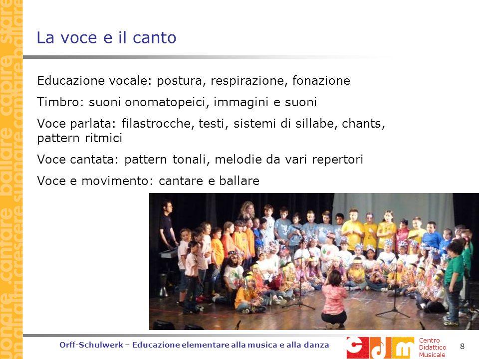 Centro Didattico Musicale Orff-Schulwerk – Educazione elementare alla musica e alla danza 8 La voce e il canto Educazione vocale: postura, respirazione, fonazione Timbro: suoni onomatopeici, immagini e suoni Voce parlata: filastrocche, testi, sistemi di sillabe, chants, pattern ritmici Voce cantata: pattern tonali, melodie da vari repertori Voce e movimento: cantare e ballare
