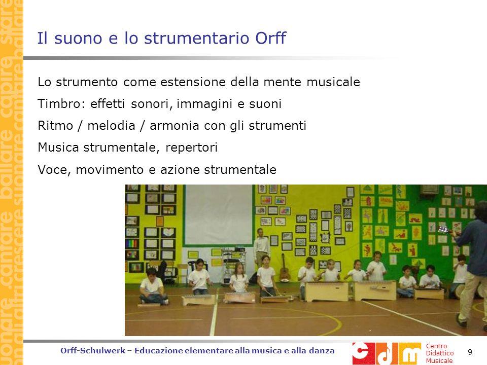 Centro Didattico Musicale Orff-Schulwerk – Educazione elementare alla musica e alla danza 20 Approfondimenti G.Piazza (a cura di) LOrff-Schulwerk in Italia.