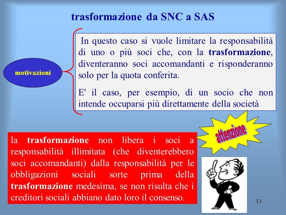 13 trasformazione da SNC a SAS motivazioni In questo caso si vuole limitare la responsabilità di uno o più soci che, con la trasformazione, diventeran