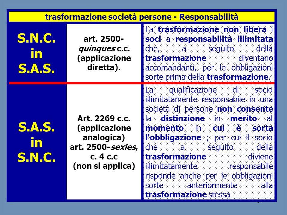 17 trasformazione società persone - Responsabilità S.N.C. in S.A.S. art. 2500- quinques c.c. (applicazione diretta). La trasformazione non libera i so