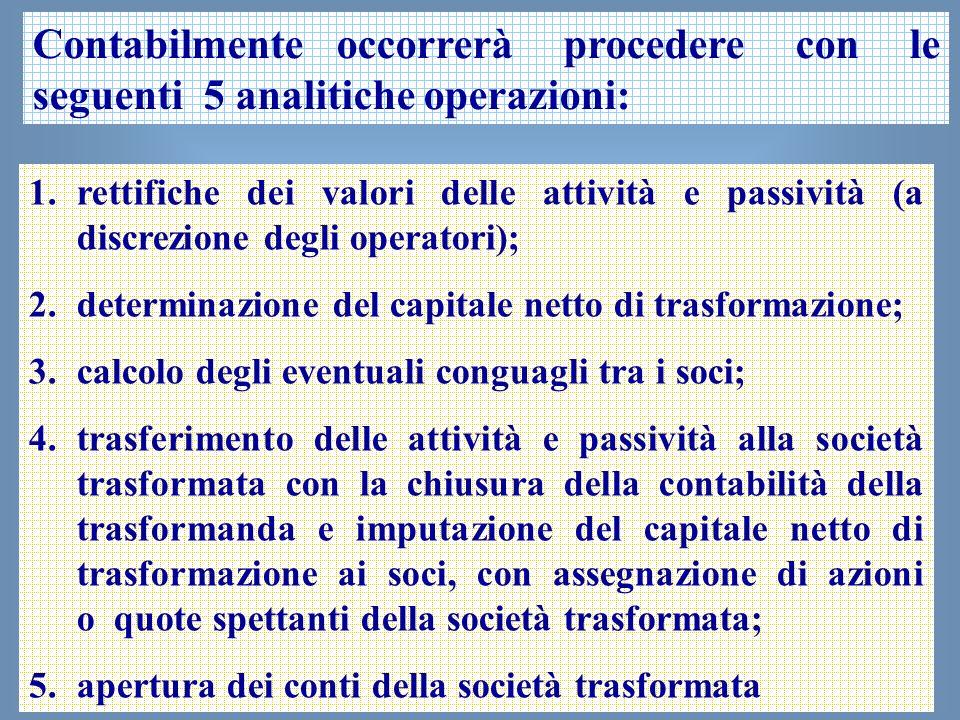 27 Contabilmente occorrerà procedere con le seguenti 5 analitiche operazioni: 1.rettifiche dei valori delle attività e passività (a discrezione degli