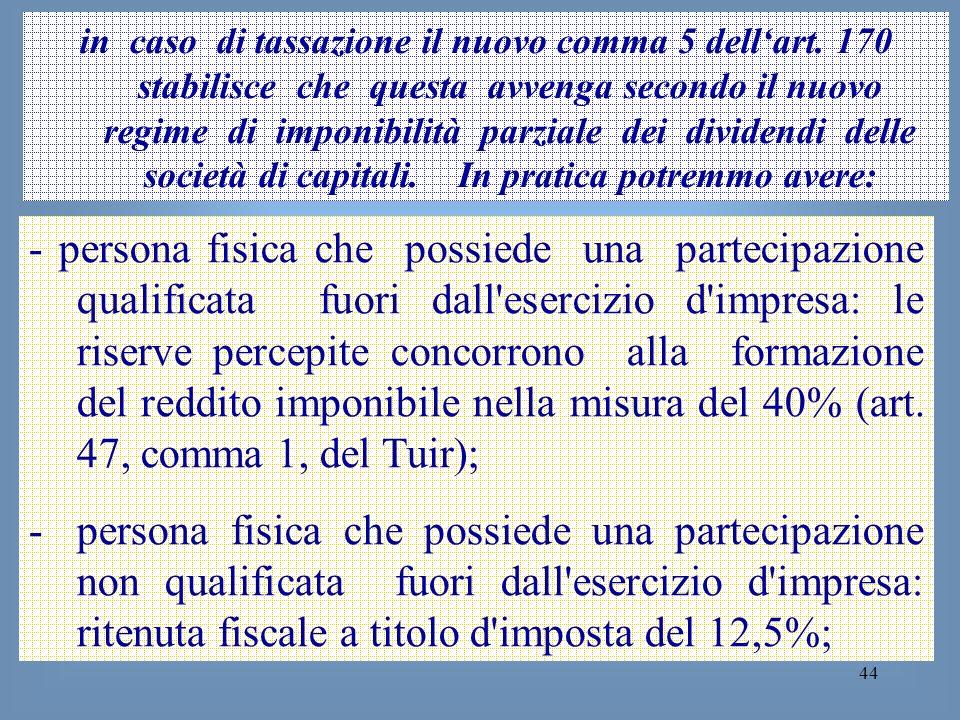 44 in caso di tassazione il nuovo comma 5 dellart. 170 stabilisce che questa avvenga secondo il nuovo regime di imponibilità parziale dei dividendi de