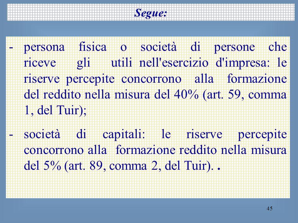 45 Segue: -persona fisica o società di persone che riceve gli utili nell'esercizio d'impresa: le riserve percepite concorrono alla formazione del redd