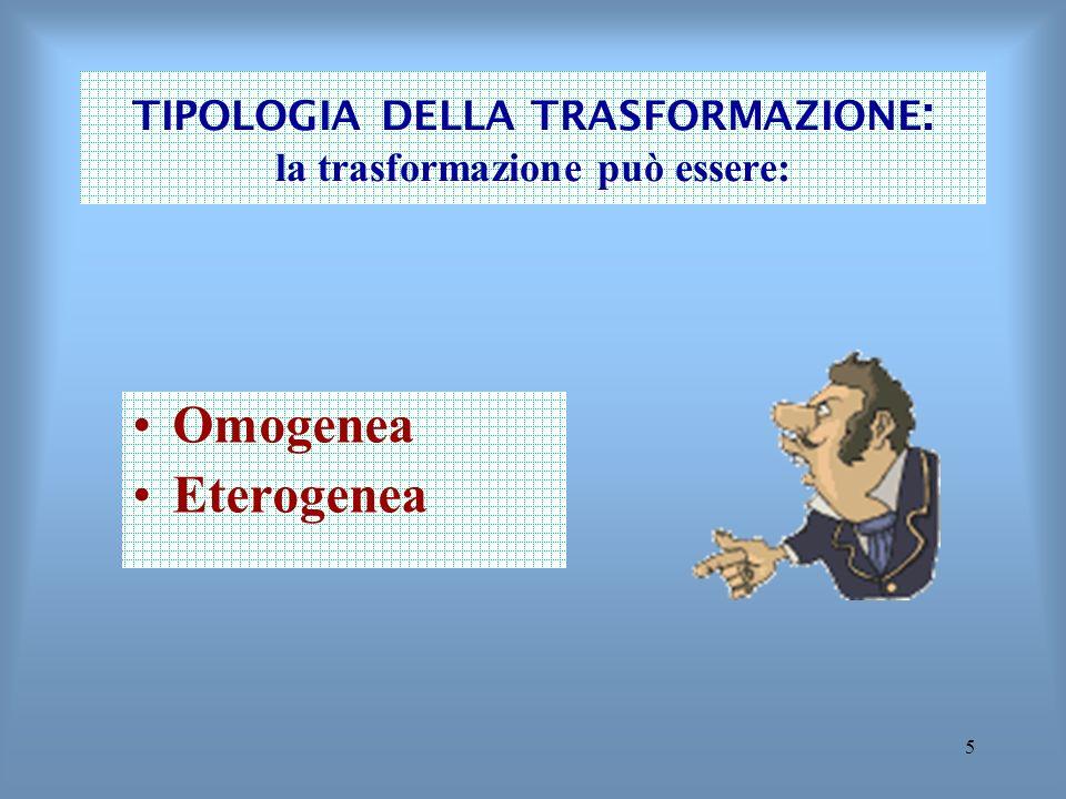 5 TIPOLOGIA DELLA TRASFORMAZIONE : la trasformazione può essere: Omogenea Eterogenea