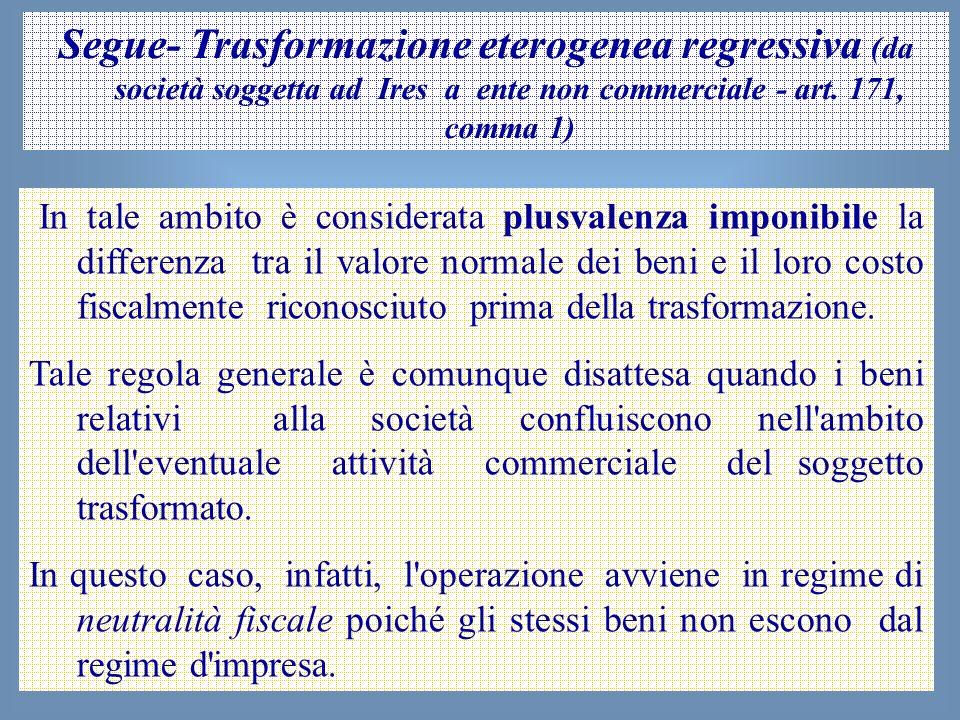 50 Segue- Trasformazione eterogenea regressiva (da società soggetta ad Ires a ente non commerciale - art. 171, comma 1) In tale ambito è considerata p