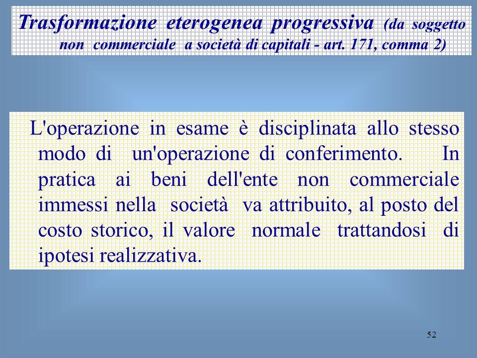 52 Trasformazione eterogenea progressiva (da soggetto non commerciale a società di capitali - art. 171, comma 2) L'operazione in esame è disciplinata