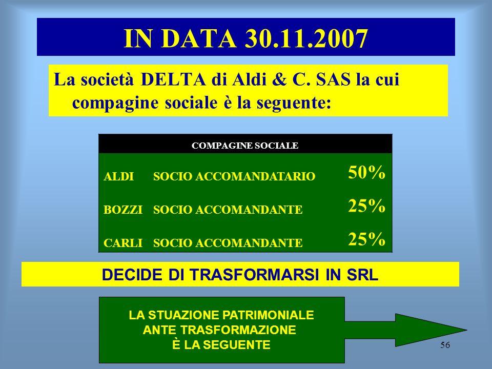 56 IN DATA 30.11.2007 La società DELTA di Aldi & C. SAS la cui compagine sociale è la seguente: COMPAGINE SOCIALE ALDISOCIO ACCOMANDATARIO 50% BOZZISO