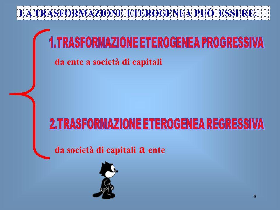 8 LA TRASFORMAZIONE ETEROGENEA PUÒ ESSERE: da ente a società di capitali da società di capitali a ente