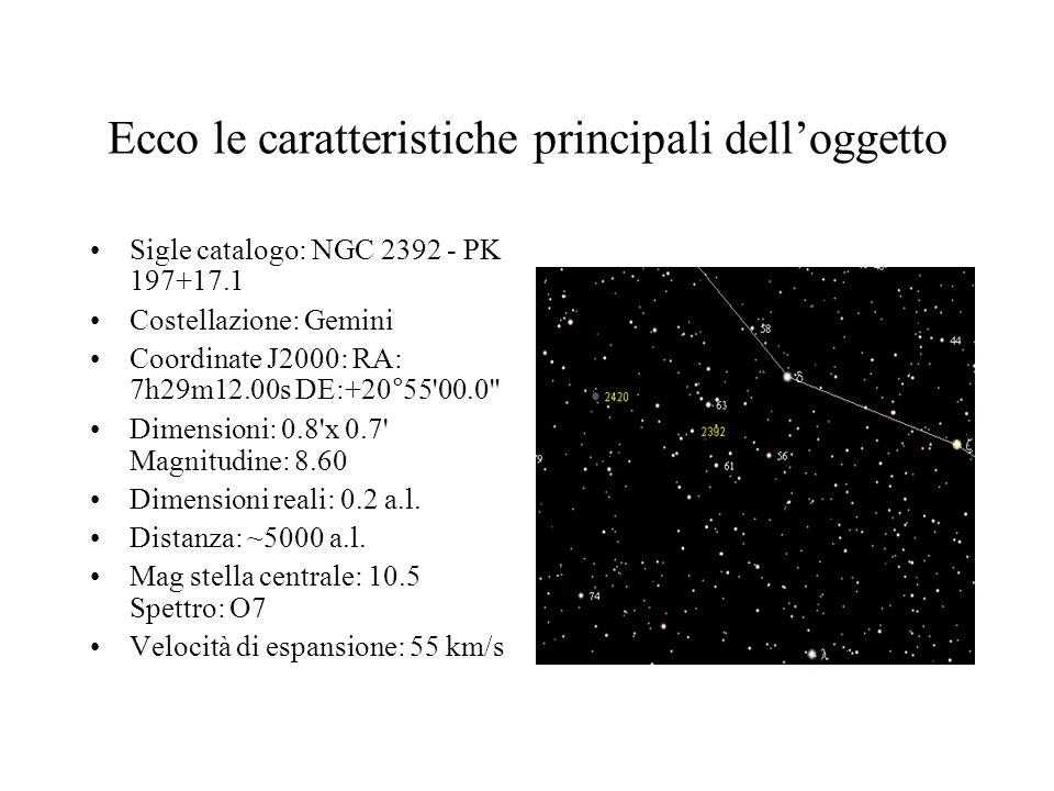 Ecco le caratteristiche principali delloggetto Sigle catalogo: NGC 2392 - PK 197+17.1 Costellazione: Gemini Coordinate J2000: RA: 7h29m12.00s DE:+20°55 00.0 Dimensioni: 0.8 x 0.7 Magnitudine: 8.60 Dimensioni reali: 0.2 a.l.