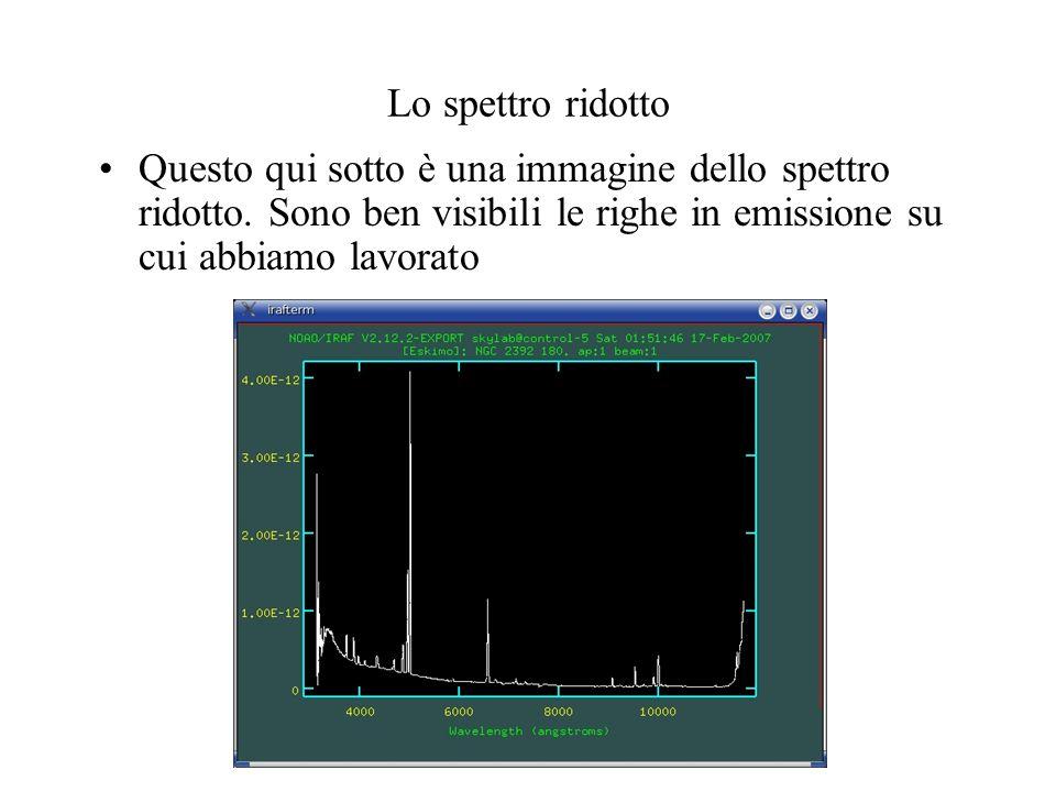 Lo spettro ridotto Questo qui sotto è una immagine dello spettro ridotto.