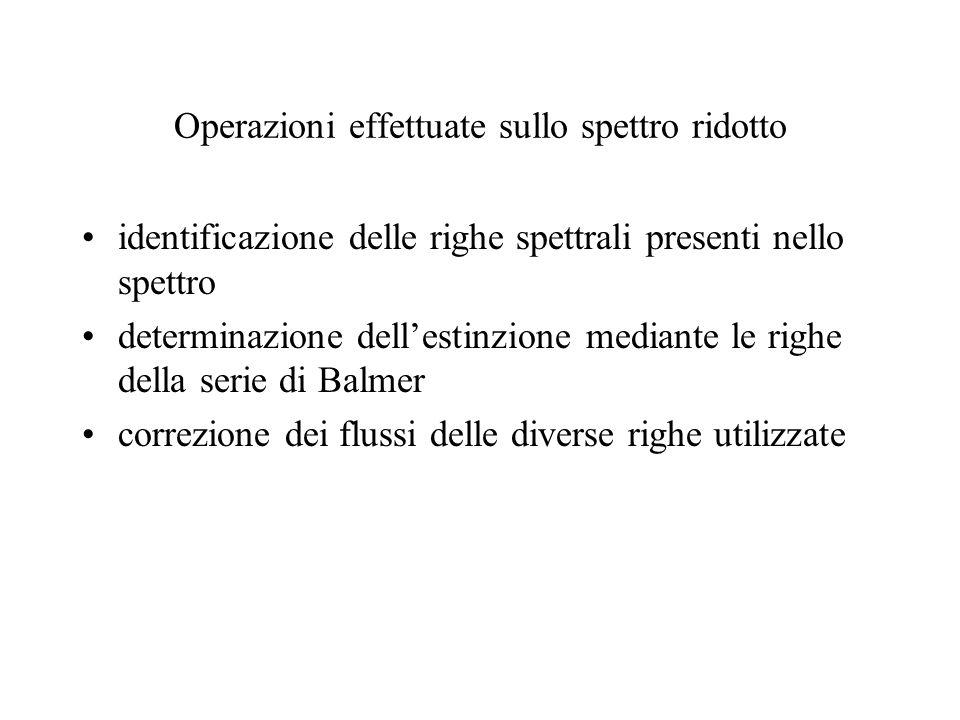 Operazioni effettuate sullo spettro ridotto identificazione delle righe spettrali presenti nello spettro determinazione dellestinzione mediante le righe della serie di Balmer correzione dei flussi delle diverse righe utilizzate