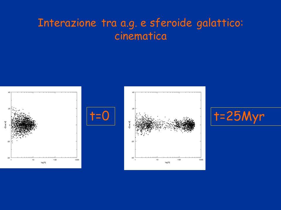 Interazione tra a.g. e sferoide galattico: cinematica t=0 t=25Myr