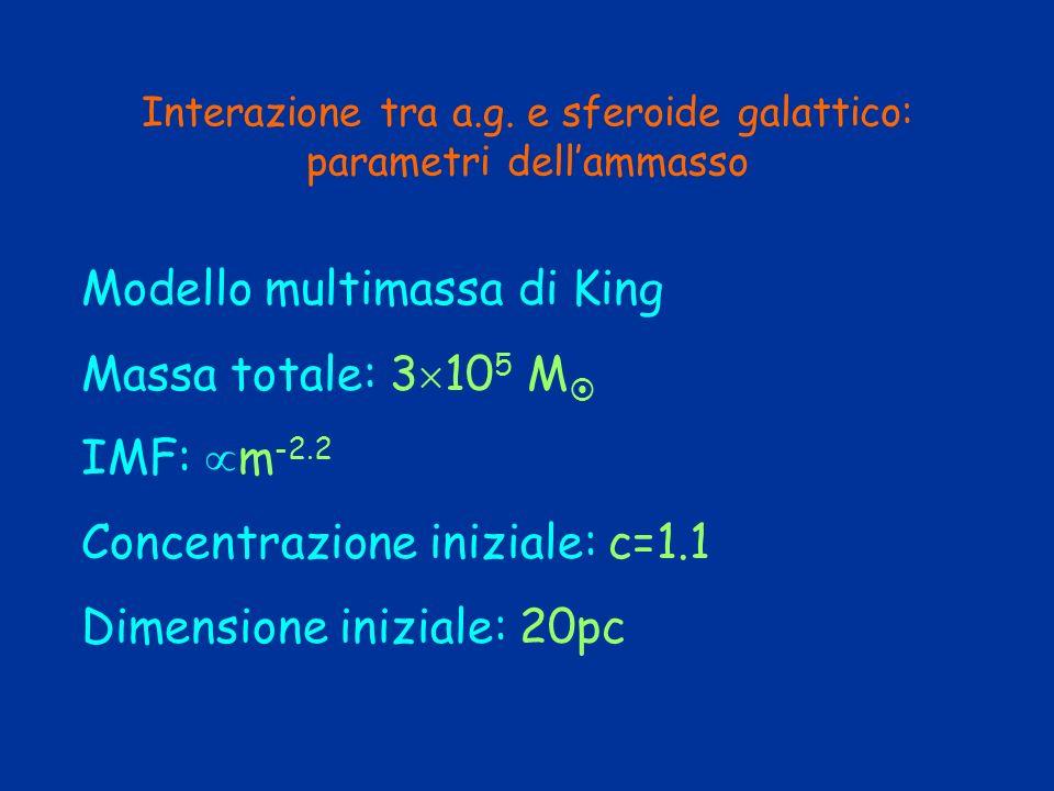Interazione tra a.g. e sferoide galattico: parametri dellammasso Modello multimassa di King Massa totale: 3 10 5 M IMF: m -2.2 Concentrazione iniziale