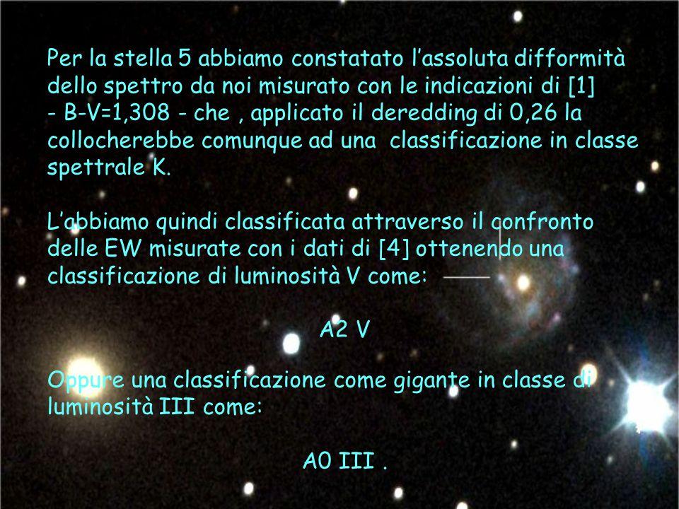 Per la stella 5 abbiamo constatato lassoluta difformità dello spettro da noi misurato con le indicazioni di [1] - B-V=1,308 - che, applicato il deredding di 0,26 la collocherebbe comunque ad una classificazione in classe spettrale K.