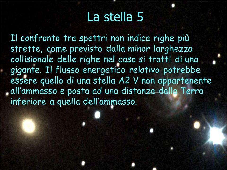 La stella 5 Il confronto tra spettri non indica righe più strette, come previsto dalla minor larghezza collisionale delle righe nel caso si tratti di una gigante.