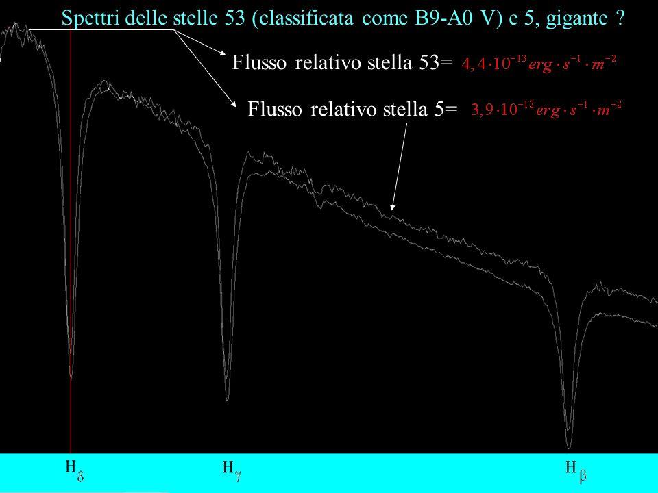 Spettri delle stelle 53 (classificata come B9-A0 V) e 5, gigante .