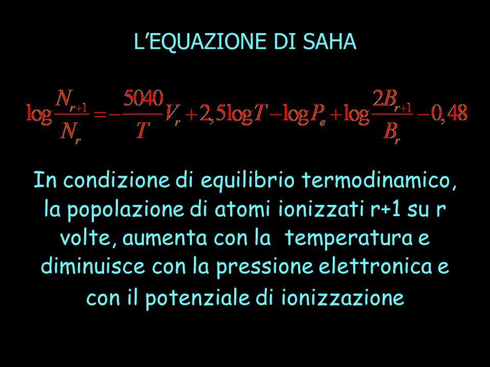 In condizione di equilibrio termodinamico, la popolazione di atomi ionizzati r+1 su r volte, aumenta con la temperatura e diminuisce con la pressione elettronica e con il potenziale di ionizzazione LEQUAZIONE DI SAHA