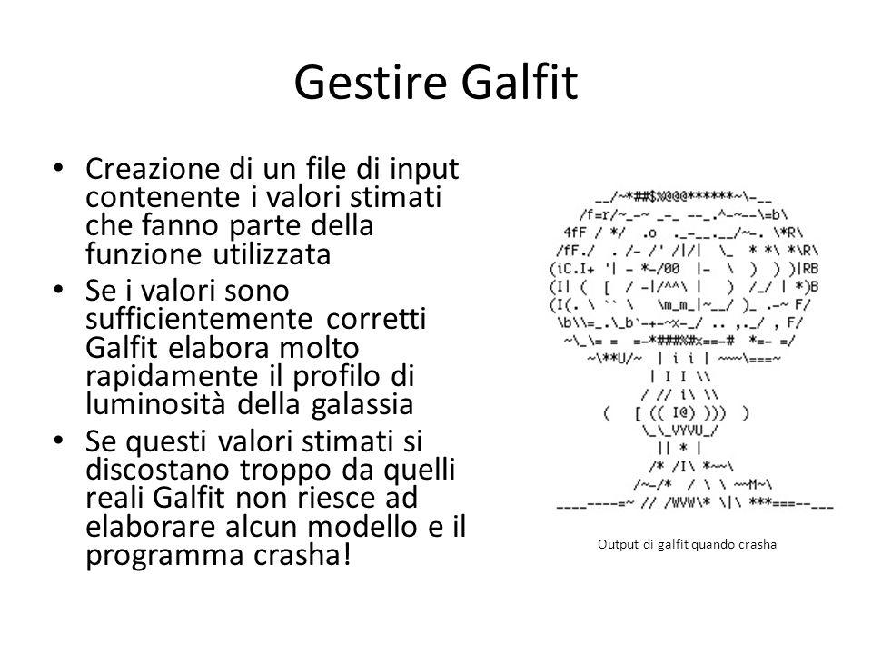 Gestire Galfit Creazione di un file di input contenente i valori stimati che fanno parte della funzione utilizzata Se i valori sono sufficientemente c